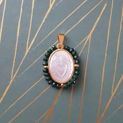 Médaille du Cœur Sacré perles