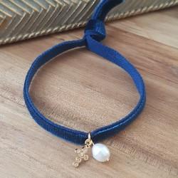 Bracelet croix et perle